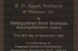Distinguished Small Business Accomplishment Award